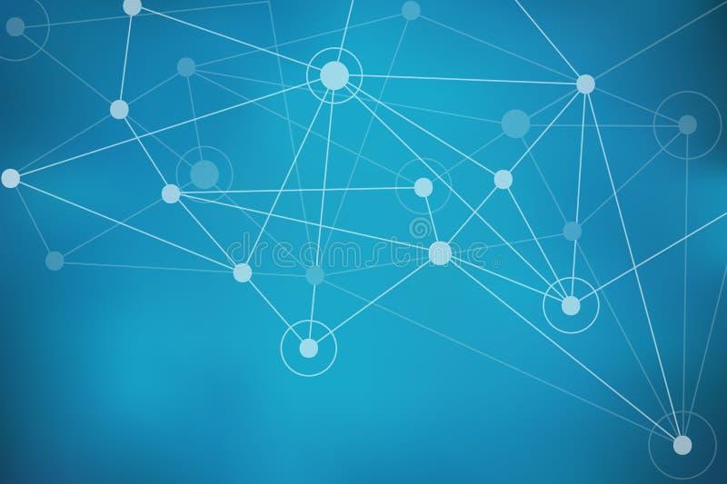 Blått abstrakt begrepp Mesh Background med cirklar, linjer och punkter stock illustrationer