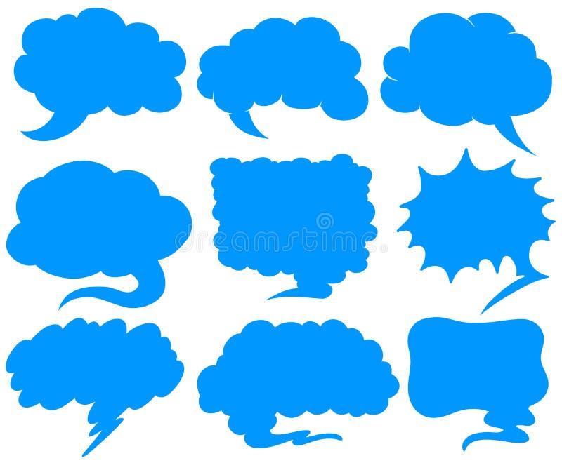 Blått anförande bubblar i olika former royaltyfri illustrationer