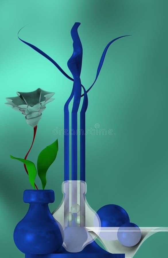 Blått av stilleben med blomman royaltyfri illustrationer