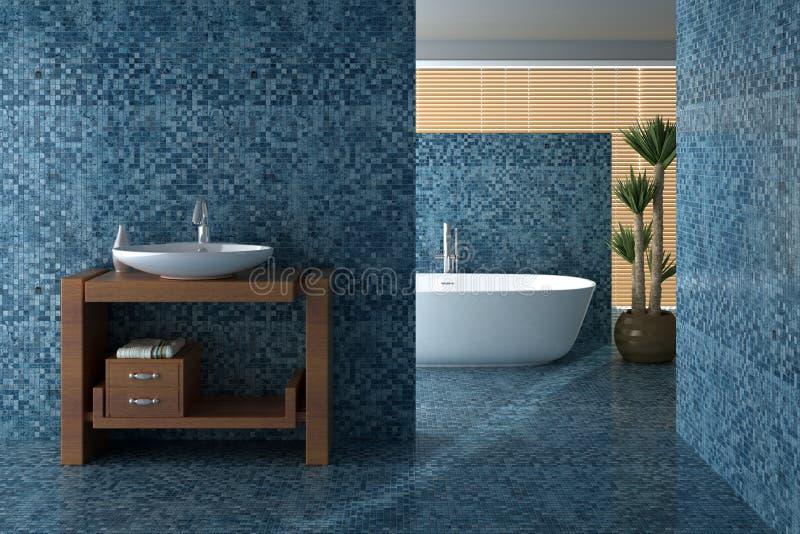 Blått badrum inklusive bad och vask royaltyfria bilder