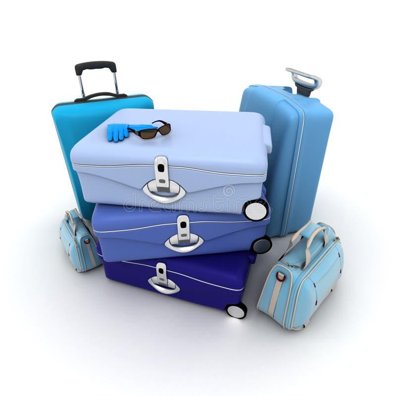 blått bagage stock illustrationer