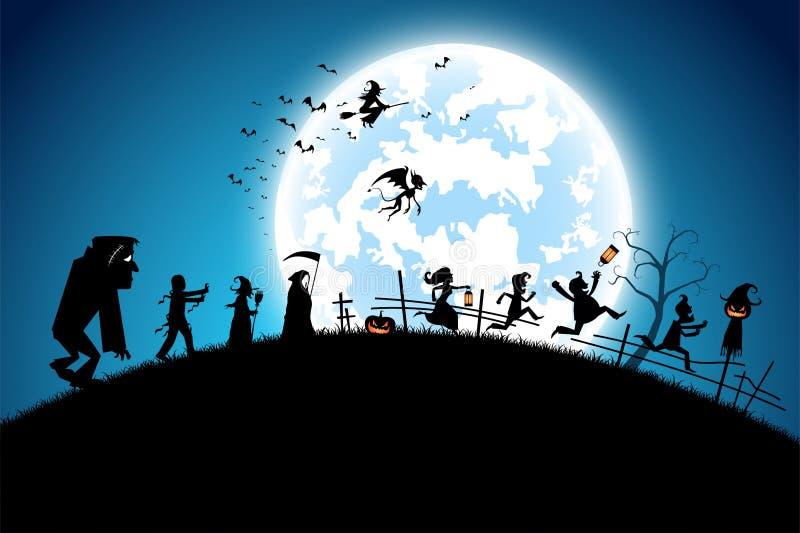 Blått bakgrundsbegrepp för illustration, många personer med män och kvinnor som bär som spöke och jäkel för festivalen halloween royaltyfri illustrationer