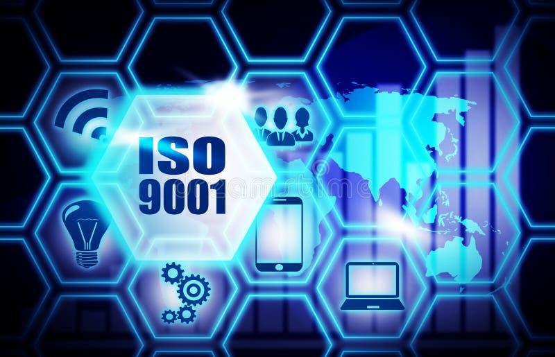 Blått bakgrundsplan för Iso 9001 royaltyfri illustrationer