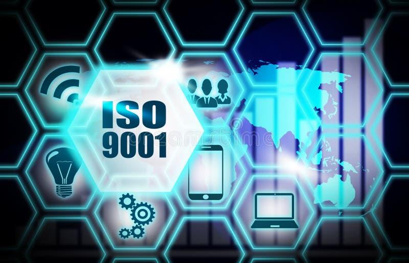 Blått bakgrundsplan för Iso 9001 vektor illustrationer