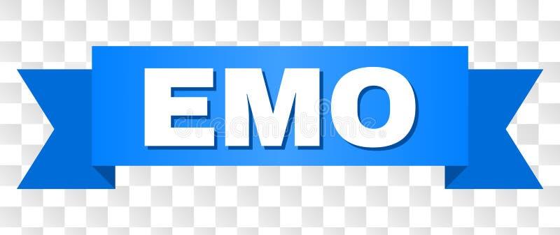 Blått band med EMO Text stock illustrationer