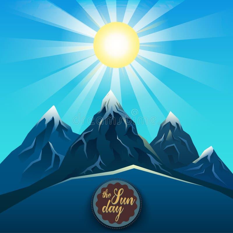 Blått berg som är realistiskt under den ljusa solvektorn vektor illustrationer