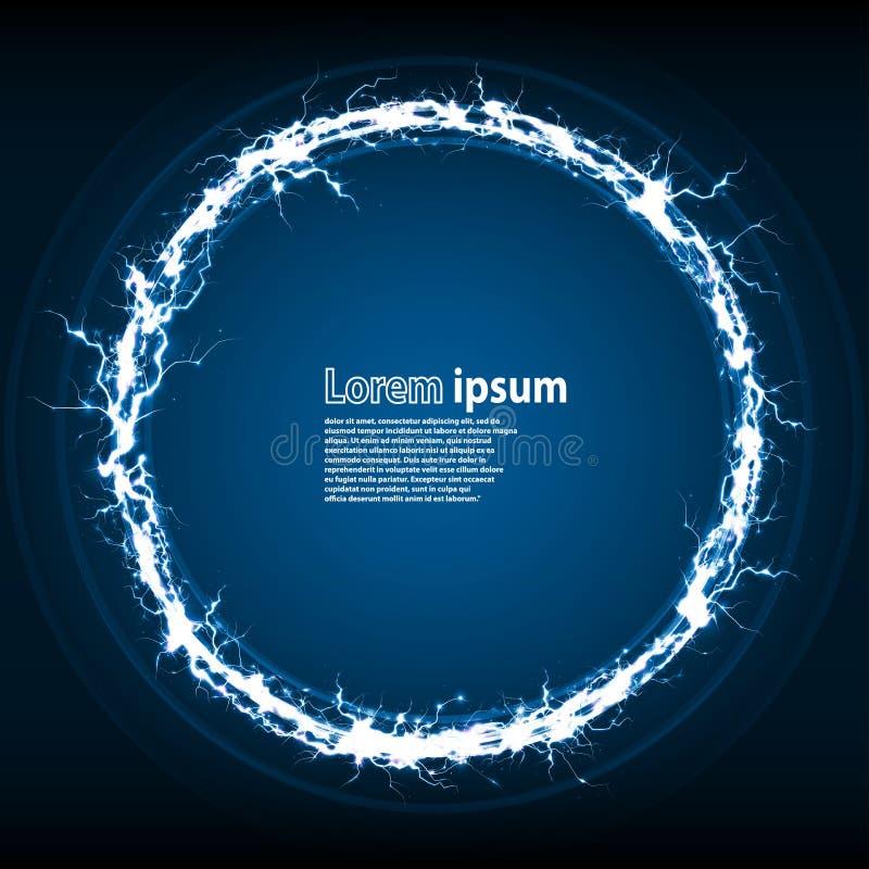 Blått blänker orienteringen för partiaffischabstrakt begrepp med cirkelramen vektor illustrationer
