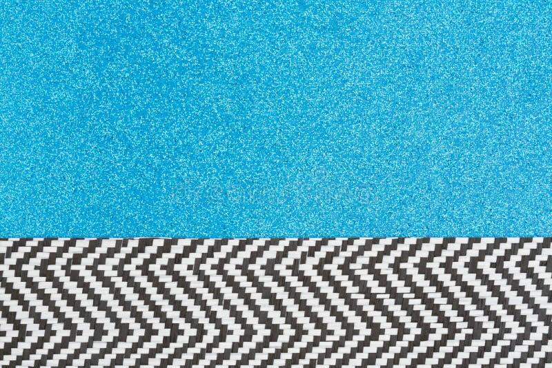 Blått blänker papper med fiskbensmönsterbandbakgrund royaltyfri fotografi