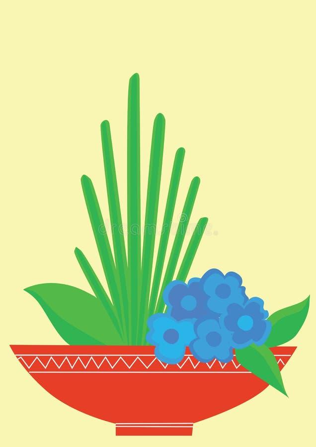 Blått blommar med gröna sidor stock illustrationer