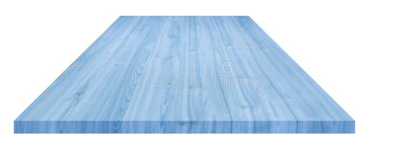 Blått bordsträperspektiv på vit bakgrund, kan användas för att visa eller montera dina produkter, med urklippsbana royaltyfria bilder
