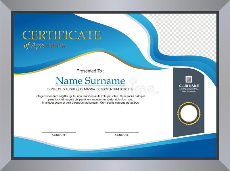 Blått certifikat - diplommalldesign royaltyfri illustrationer