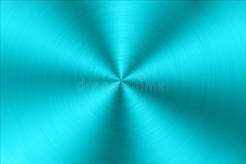 Blått cirkulär borstad metalltextur stock illustrationer