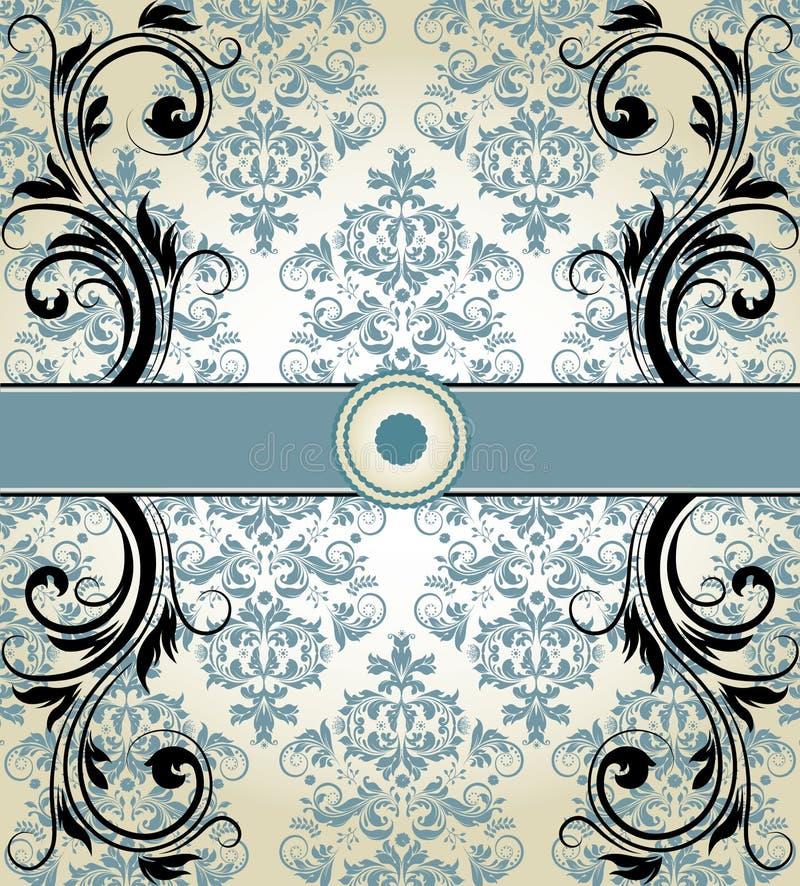 Blått damast inbjudankort för tappning vektor illustrationer