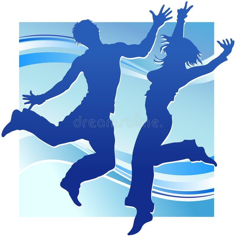 blått dansfolk royaltyfri illustrationer