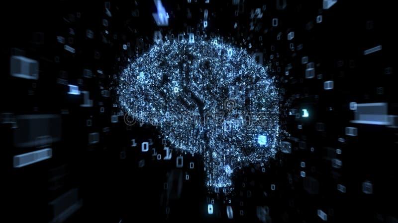 Blått digitalt hjärnbegrepp - datorströmkrets med binär kod vektor illustrationer