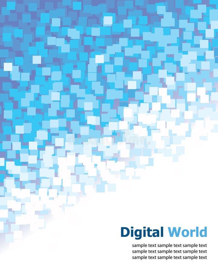 blått digitalt PIXEL för bakgrund royaltyfri illustrationer