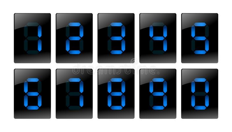 blått digitalt symbolsnummer vektor illustrationer