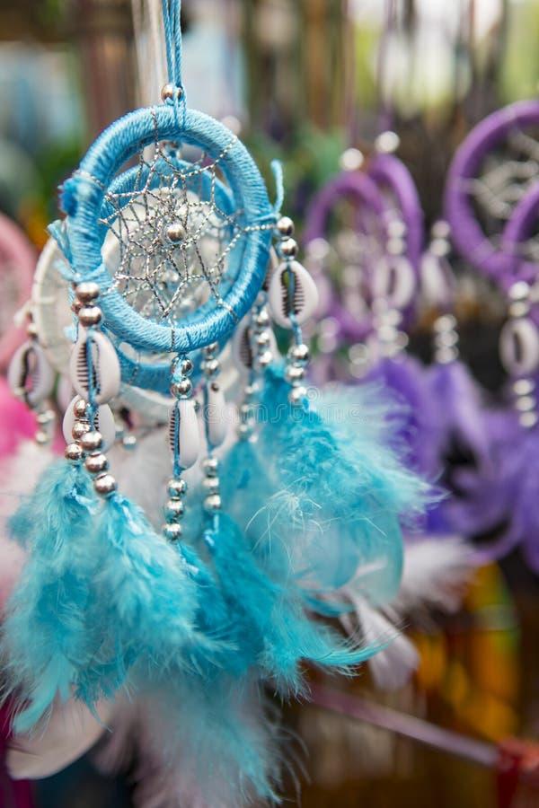 Blått Dreamcatcher ljus royaltyfri foto