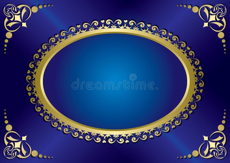 Blått elegant tappningkort med den guld- ramen royaltyfri illustrationer