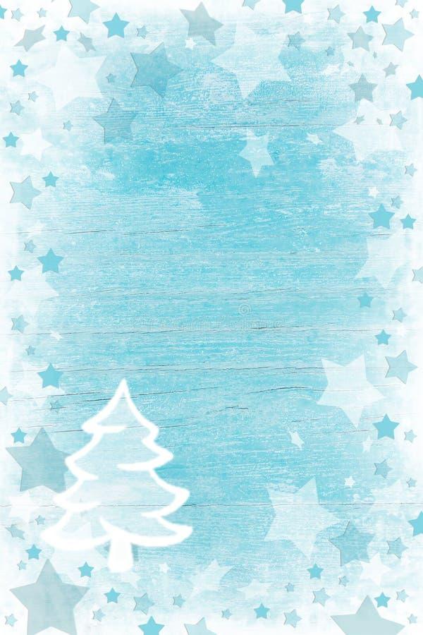 Blått- eller turkosträjulbakgrund med snö, stjärnor a arkivbilder