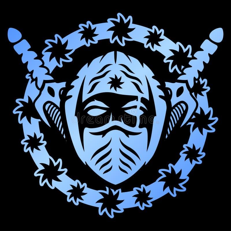 Blått emblem med ninja royaltyfri illustrationer