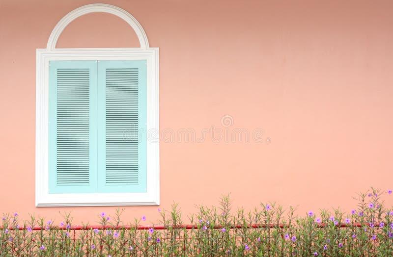 Blått fönster för pastell med den vita ramen på den rosa väggen arkivfoto