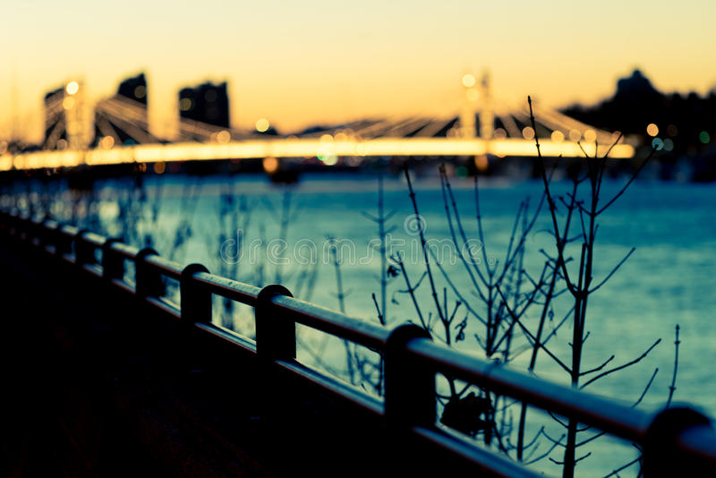 Blått för Albert brosolnedgång arkivbilder