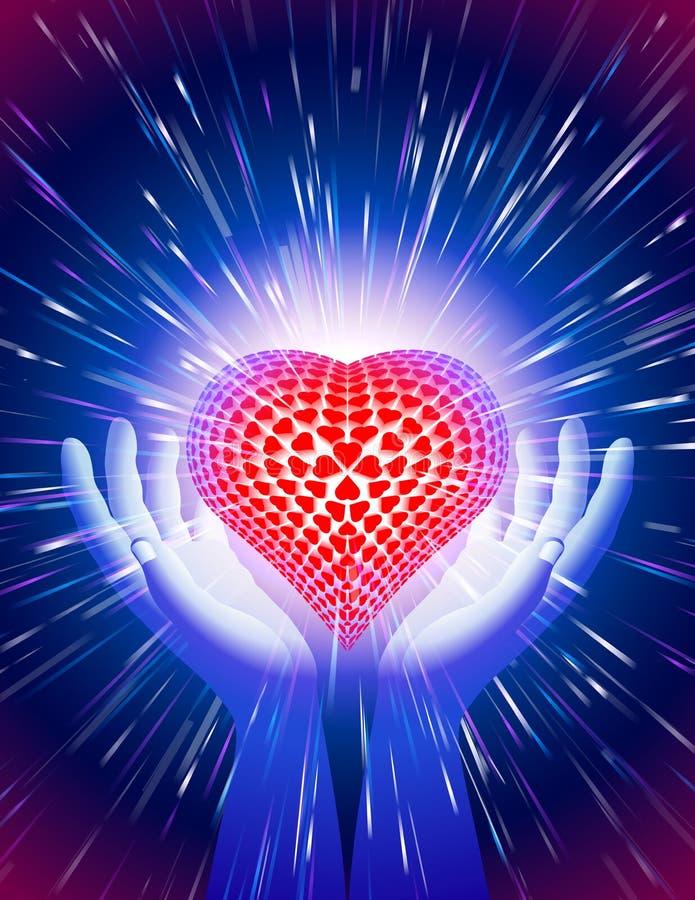 Blått för bakgrund för förälskelse för magisk makt för ljus stråle för handhjärta vektor illustrationer
