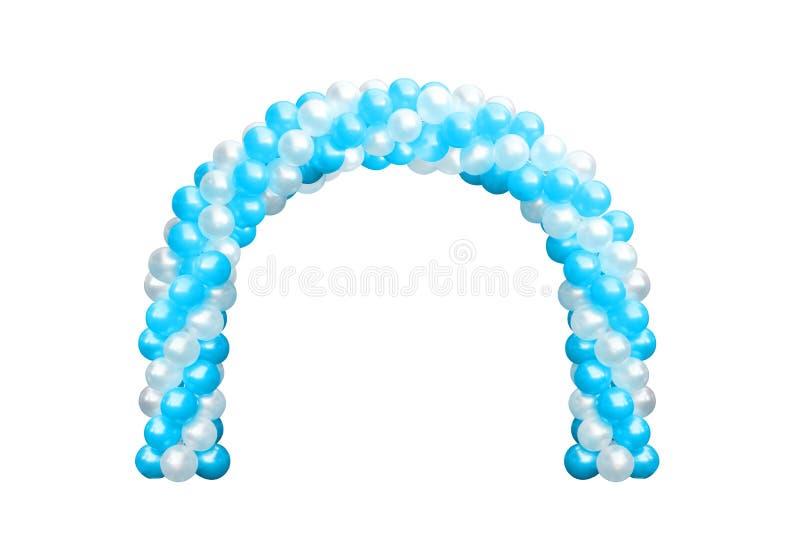 Blått för ballongvalvgångdörr och vit, bågar som gifta sig, beståndsdelar för garnering för ballongfestivaldesign med ärke- blom- royaltyfri foto