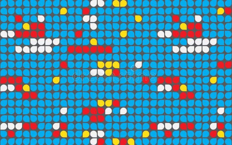 Blått för geometrisk tapet för bakgrund för droppPIXELprick färgrika stock illustrationer