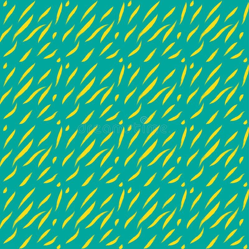 Blått för gräsplan för tryck för sömlösa för modell för abstrakt begreppformer slaglängder för borste gulnar djura stock illustrationer