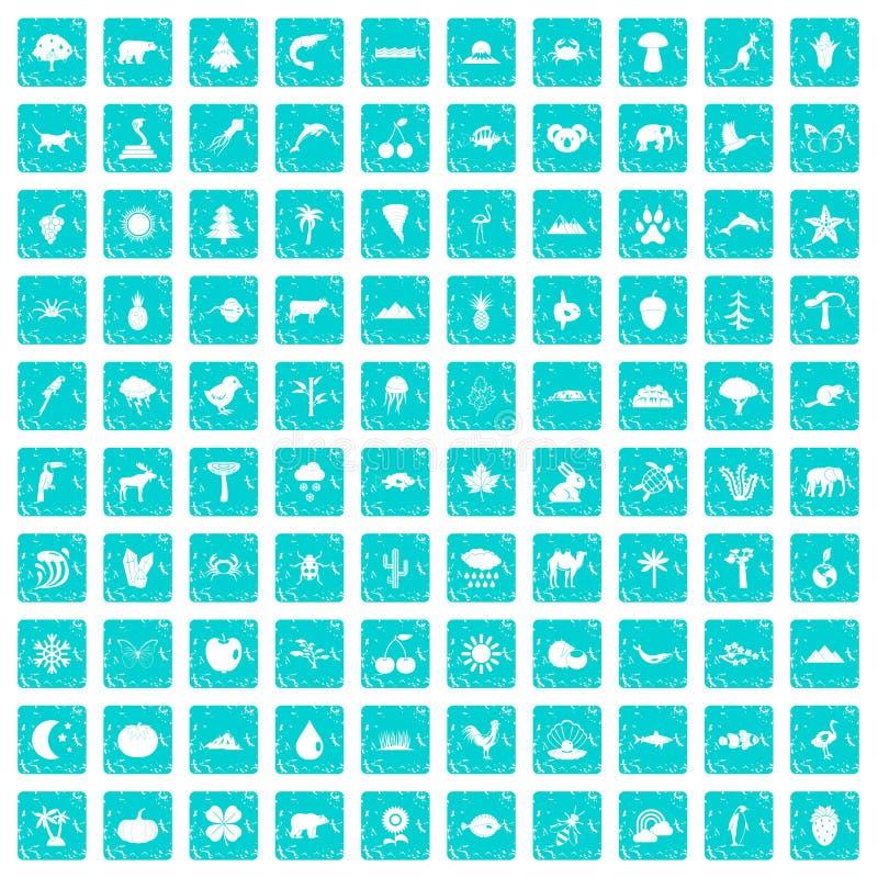 100 blått för grunge för natursymboler fastställda vektor illustrationer