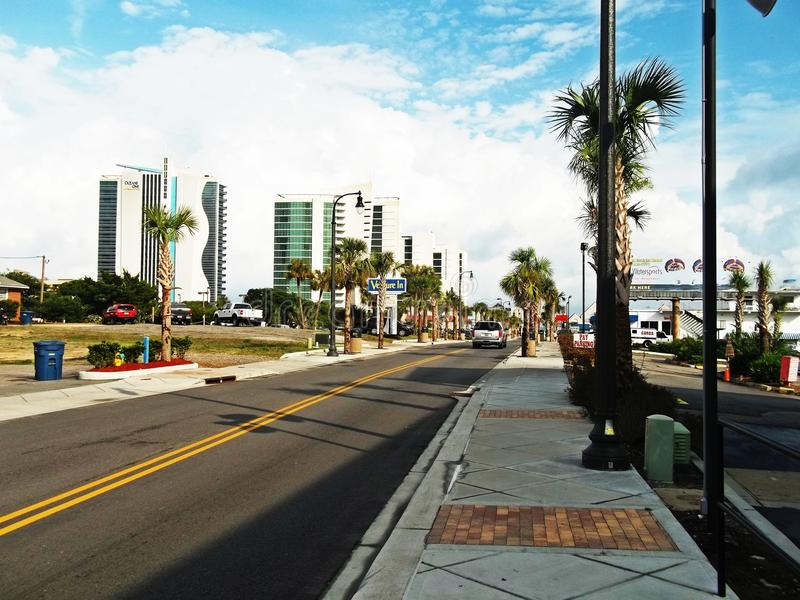 blått för hotell för sikt för väg för Myrtle Beach sikt fantastiska royaltyfria foton
