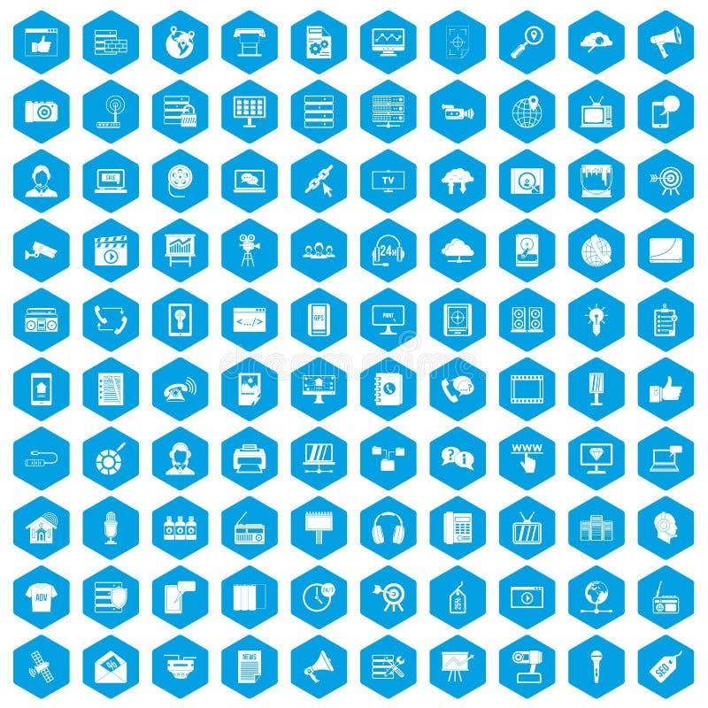 100 blått för informationstekniksymbolsuppsättning royaltyfri illustrationer