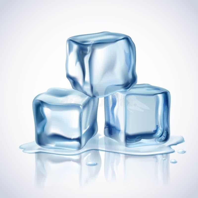 Blått för iskuber stock illustrationer