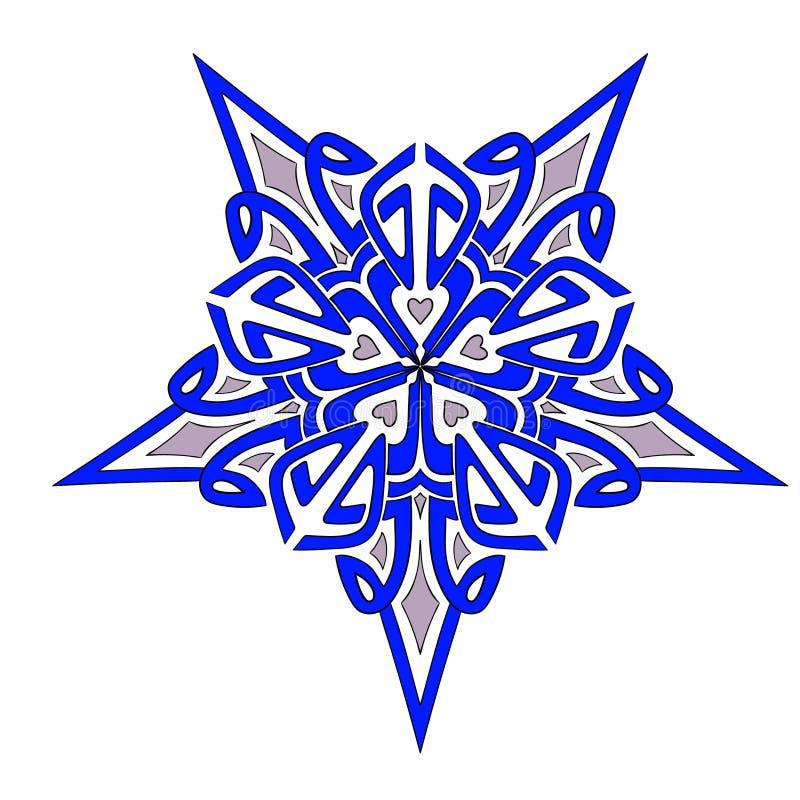 Blått för Mandalageometristjärna arkivfoto