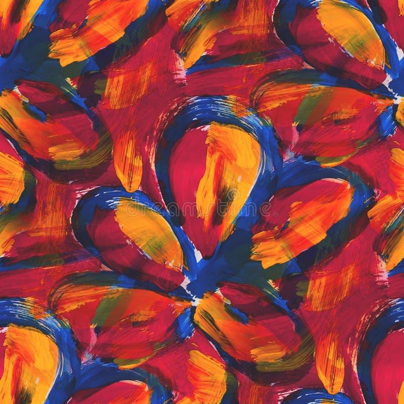 Blått för stil för tapetbild som sömlösa är röda, guling stock illustrationer