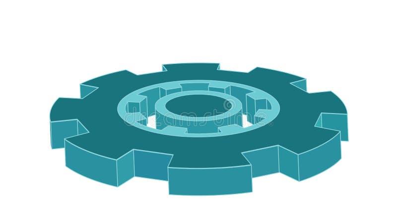Blått för symbol 3d för vektorkugghjul isolerade enkla royaltyfri foto