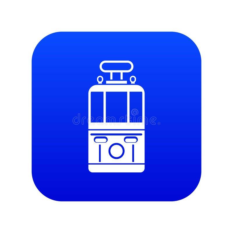 Blått för symbol för främre sikt för spårvagn digitala vektor illustrationer
