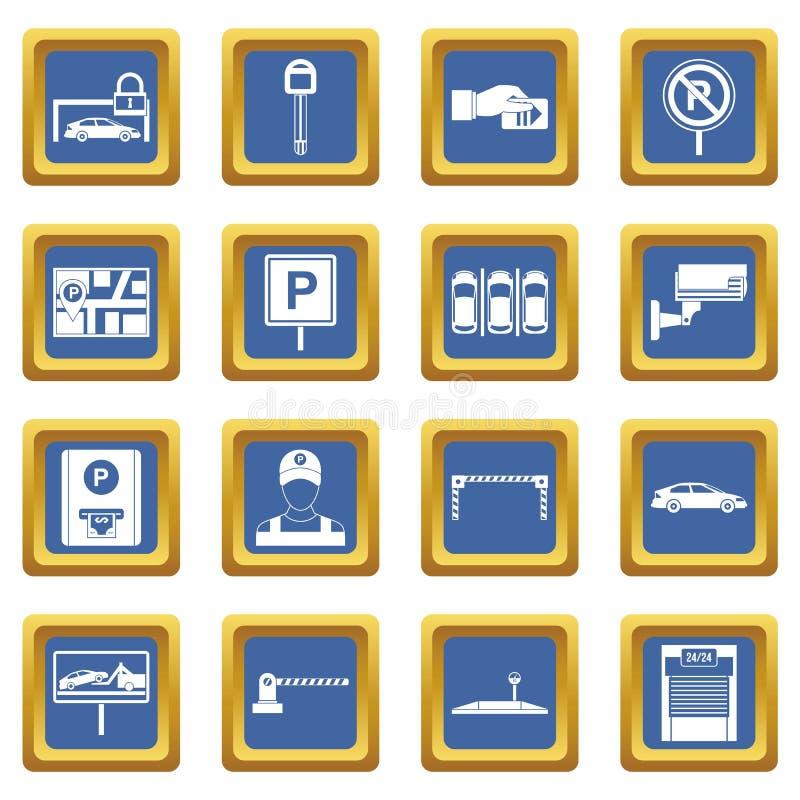 Blått för uppsättning för bilparkeringssymboler stock illustrationer