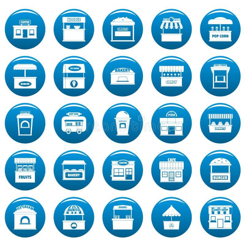 Blått för uppsättning för symboler för gatamatkiosk, enkel stil royaltyfri illustrationer