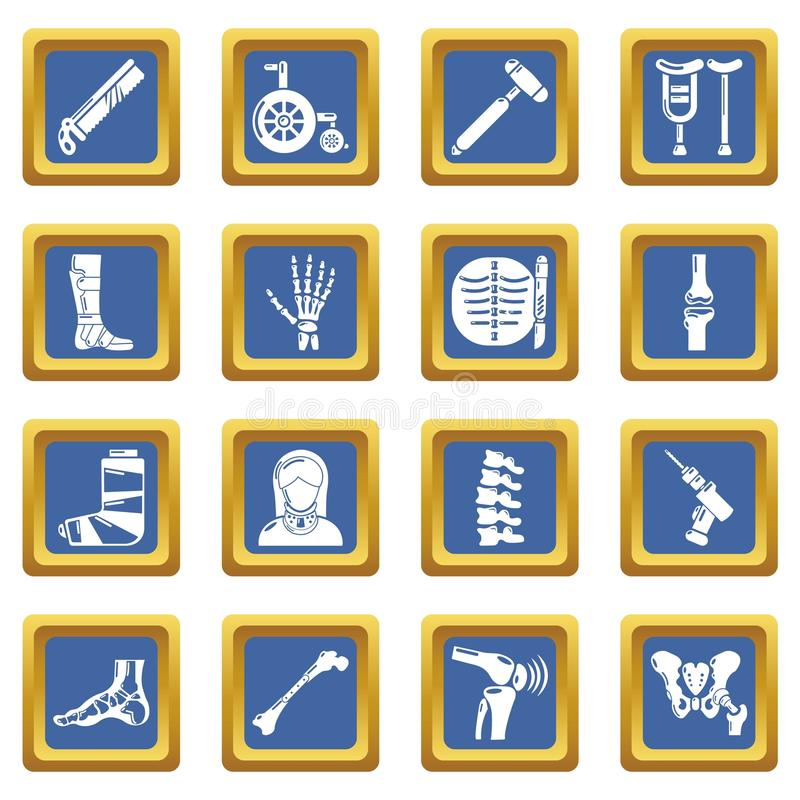Blått för uppsättning för symboler för ortopedbenhjälpmedel kvadrerar vektorn vektor illustrationer