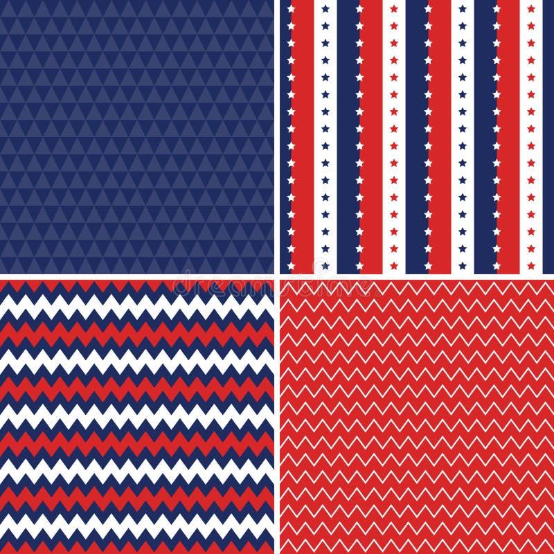 Blått för vit för sömlösa bakgrunder för självständighetsdagen röda vektor illustrationer