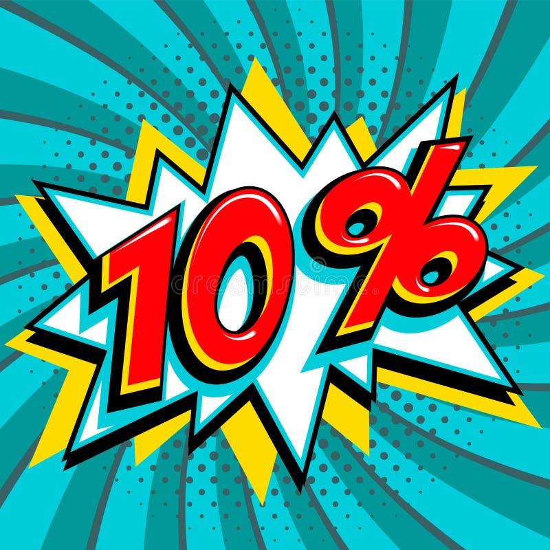 Blått försäljningsrengöringsdukbaner Sale tio procent 10 av på en form för smäll för komikerpop-konst stil på blått vred bakgrund stock illustrationer