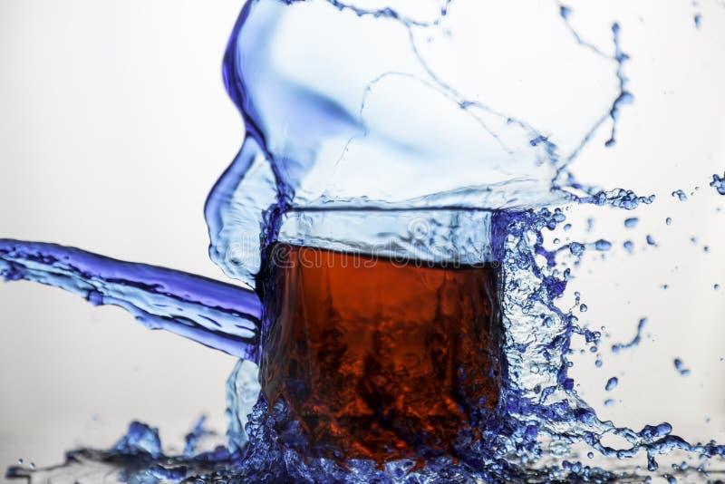 Blått Gör Klar Den Glass Koppen Som Plaskas Av Vatten Gratis Allmän Egendom Cc0 Bild