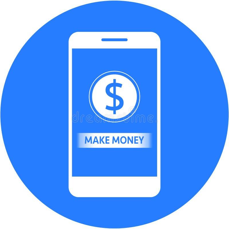 Blått gör pengar, och sänker dollar tecken att planlägga i den runda knappen stock illustrationer