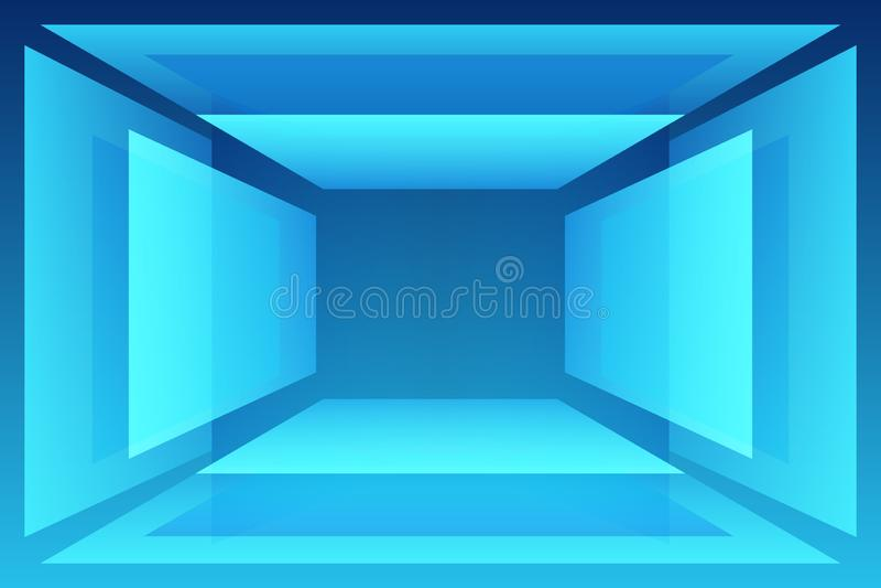 Blått geometriskt abstrakt rum med sockeltabellen för ditt objekt vektor illustrationer