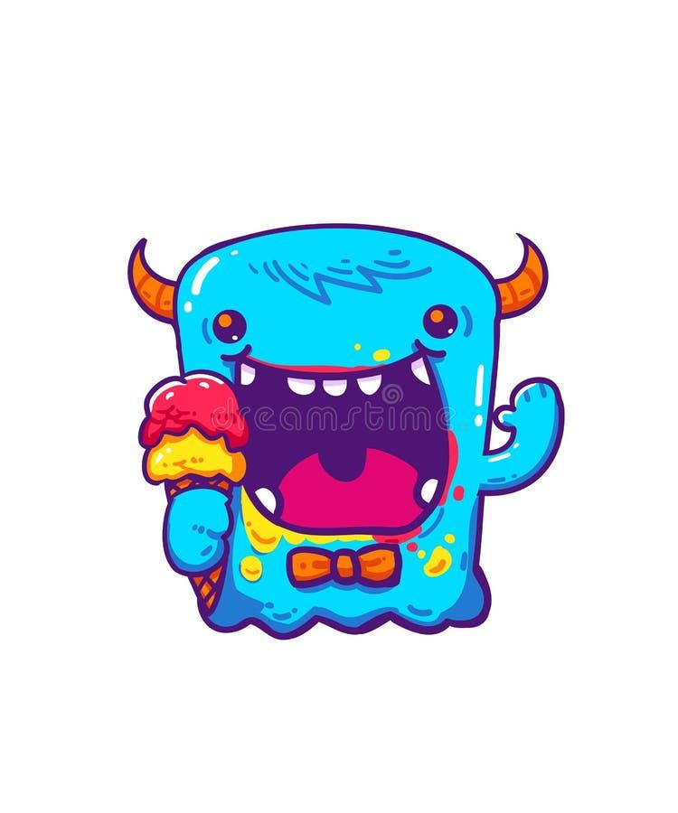 Blått gigantiskt gulligt med det horn- innehavet en lyckliga glassmaskot och bakgrund poserar stock illustrationer