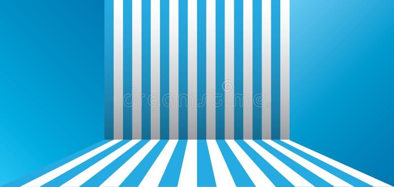 Blått gjort randig rum stock illustrationer
