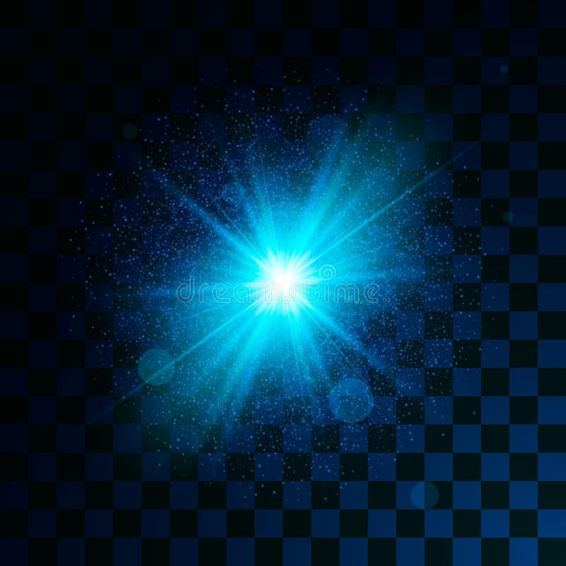 Blått glödande ljus blänker effekt på genomskinlig bakgrund Magiskt stjärnadamm gristrar ljus effekt i explosion Vektorillustrati royaltyfri illustrationer
